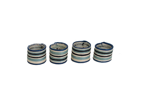 Striped Silver Blue Napkin Rings