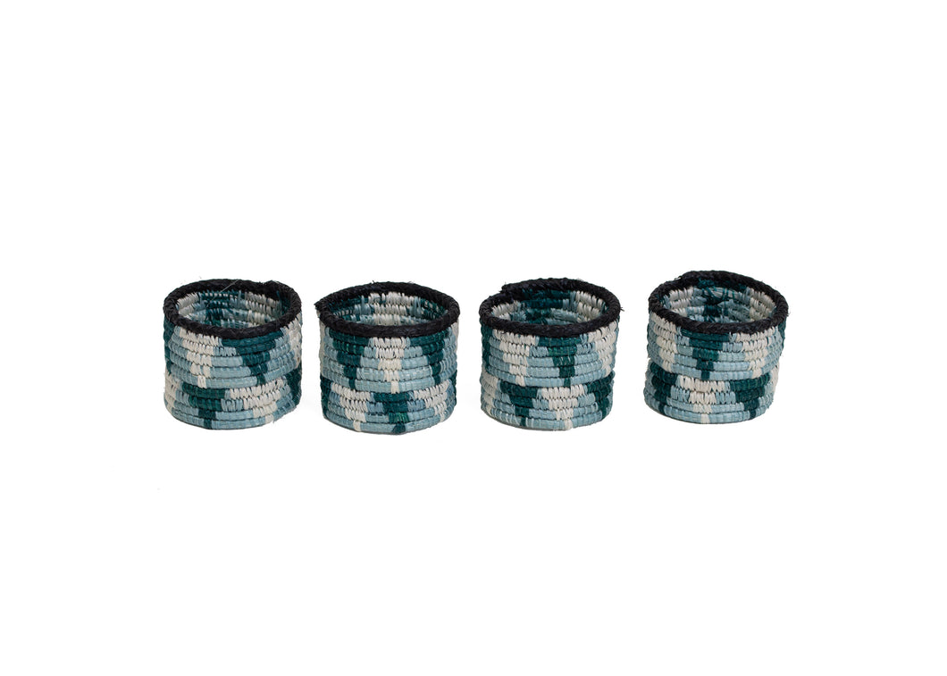 Dusk Blue + Teal Napkin Rings, Set of 4 - KAZI - Artisan made high quality home decor and wall art