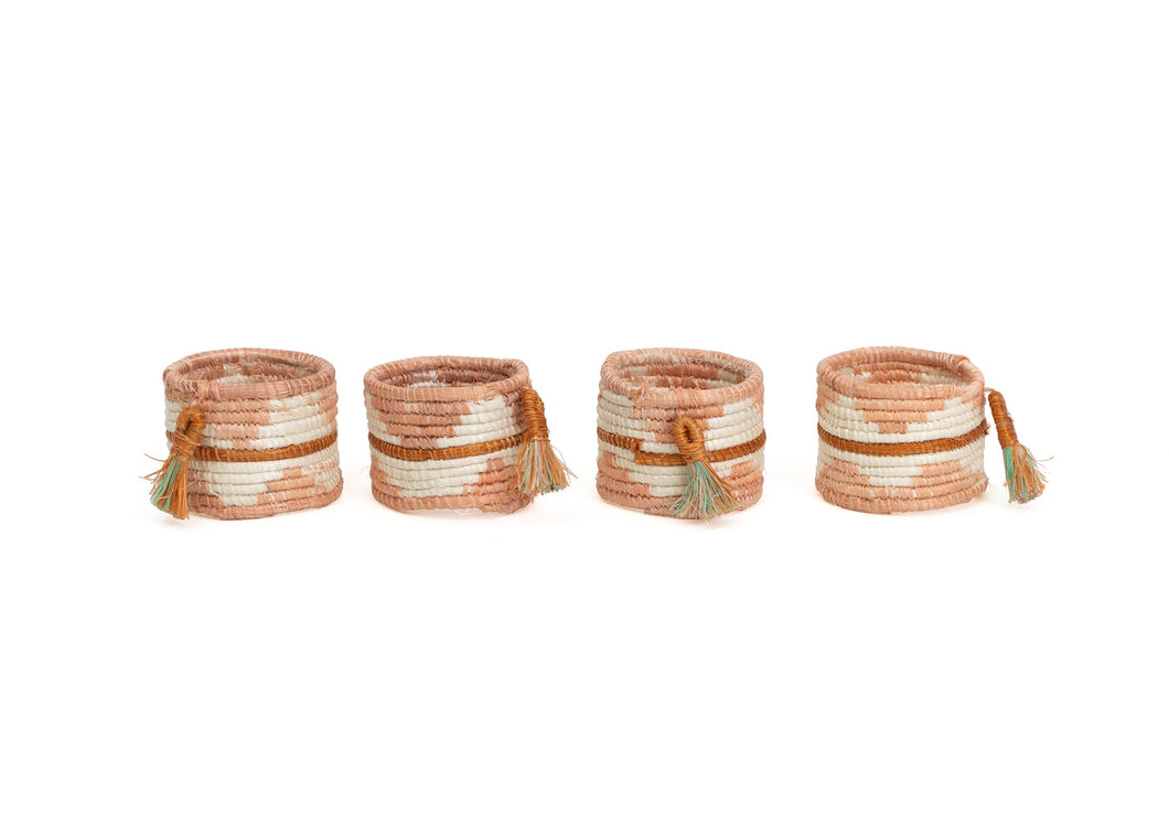 Dusty Peach Napkin Rings, Set of 4 - KAZI - Artisan made high quality home decor and wall art