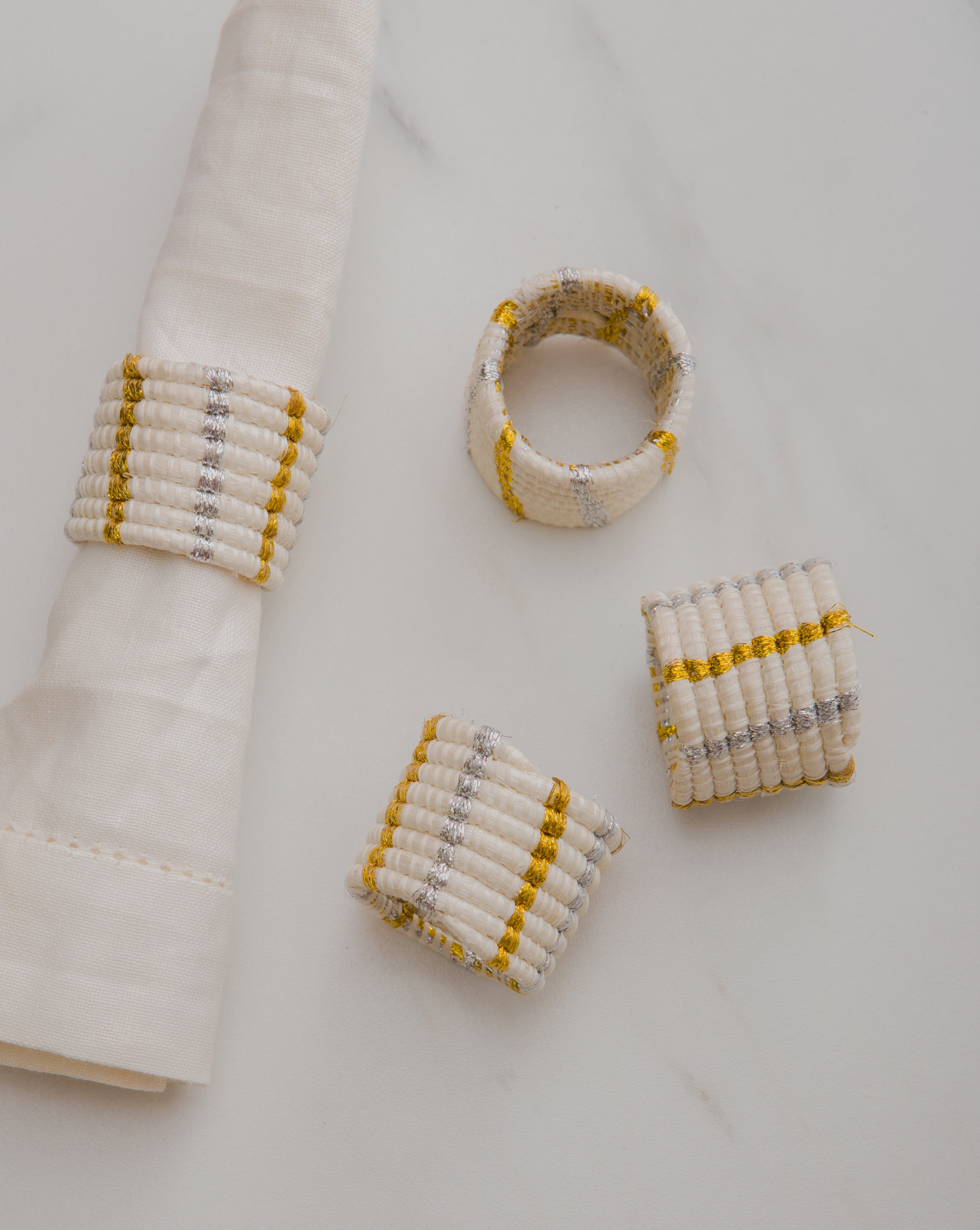 Metallic Gold + Silver Napkin Rings, Set of 4 - KAZI - Artisan made high quality home decor and wall art
