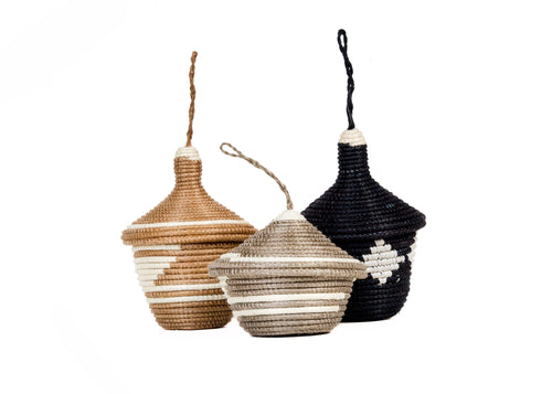 Brown Sugar + Light Taupe Ornaments, set of 3