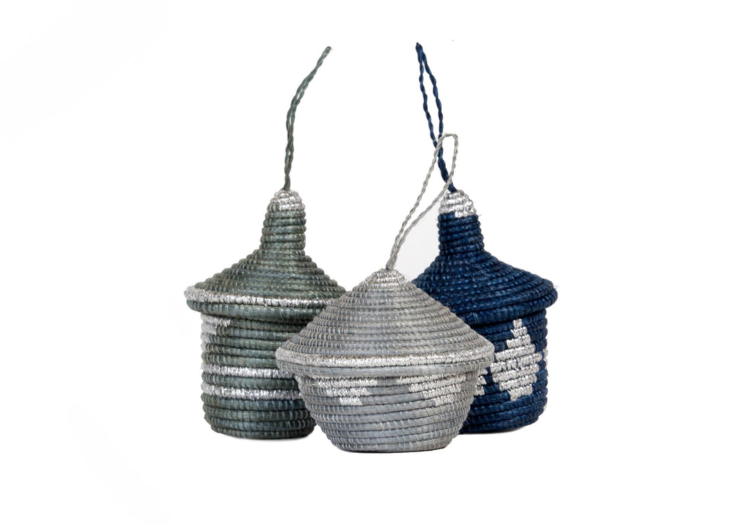 Metallic Silver + Blue Night Ornaments, set of 3 - KAZI - Artisan made high quality home decor and wall art
