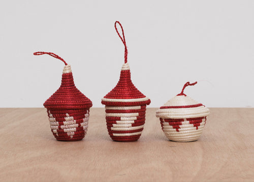 Fiery Red Ikonji Ornaments, Set of 3