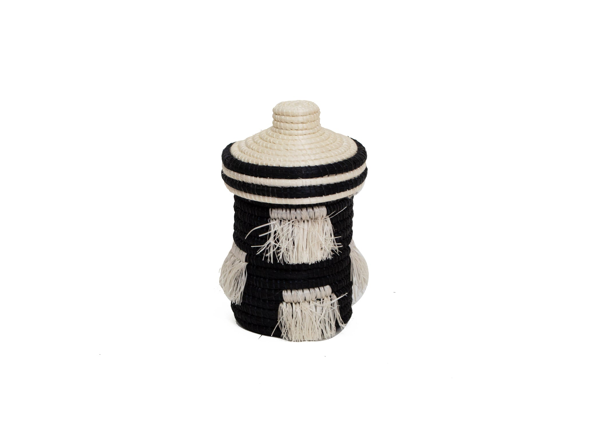 Black + White Fringed Trinket Box - KAZI - Artisan made high quality home decor and wall art