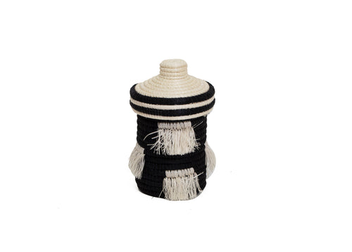 Black + White Fringed Trinket Box