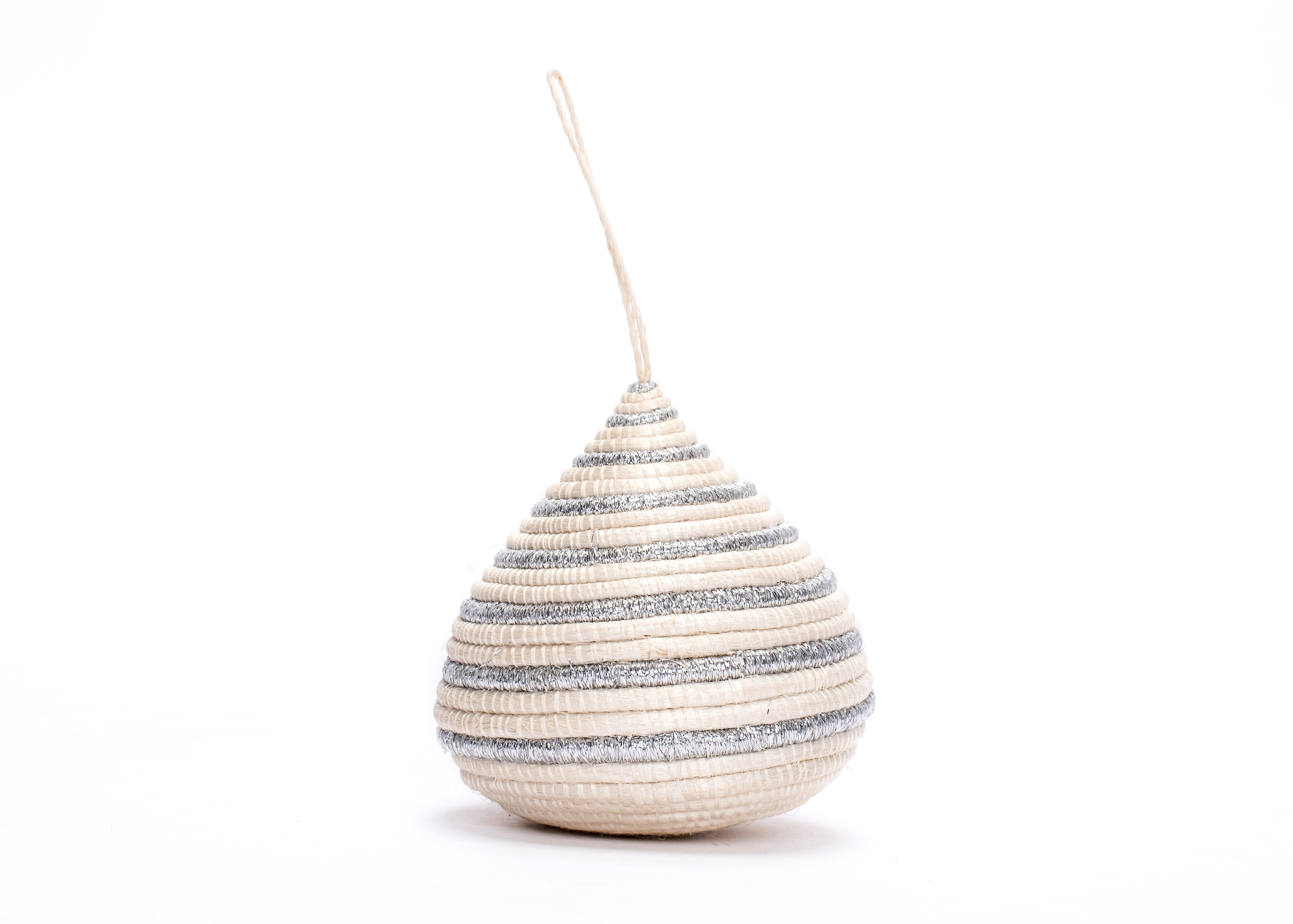 Striped Silver Bulb Ornament - KAZI - Artisan made high quality home decor and wall art