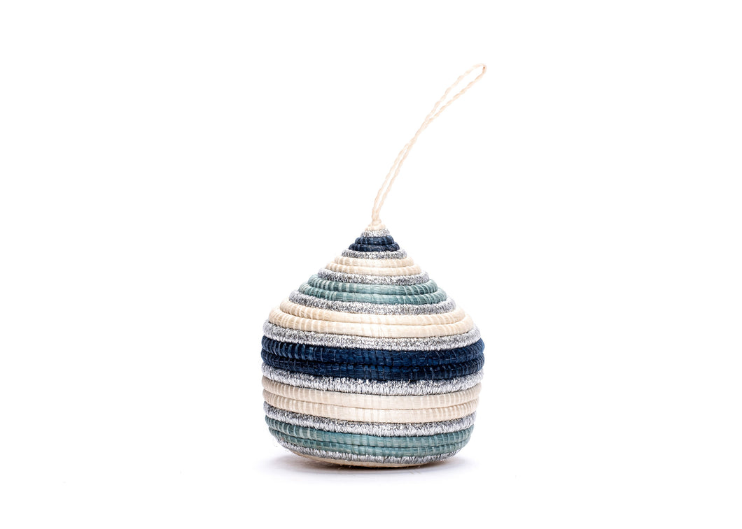 Striped Soft Blue + Silver Bulb Ornament - KAZI - Artisan made high quality home decor and wall art