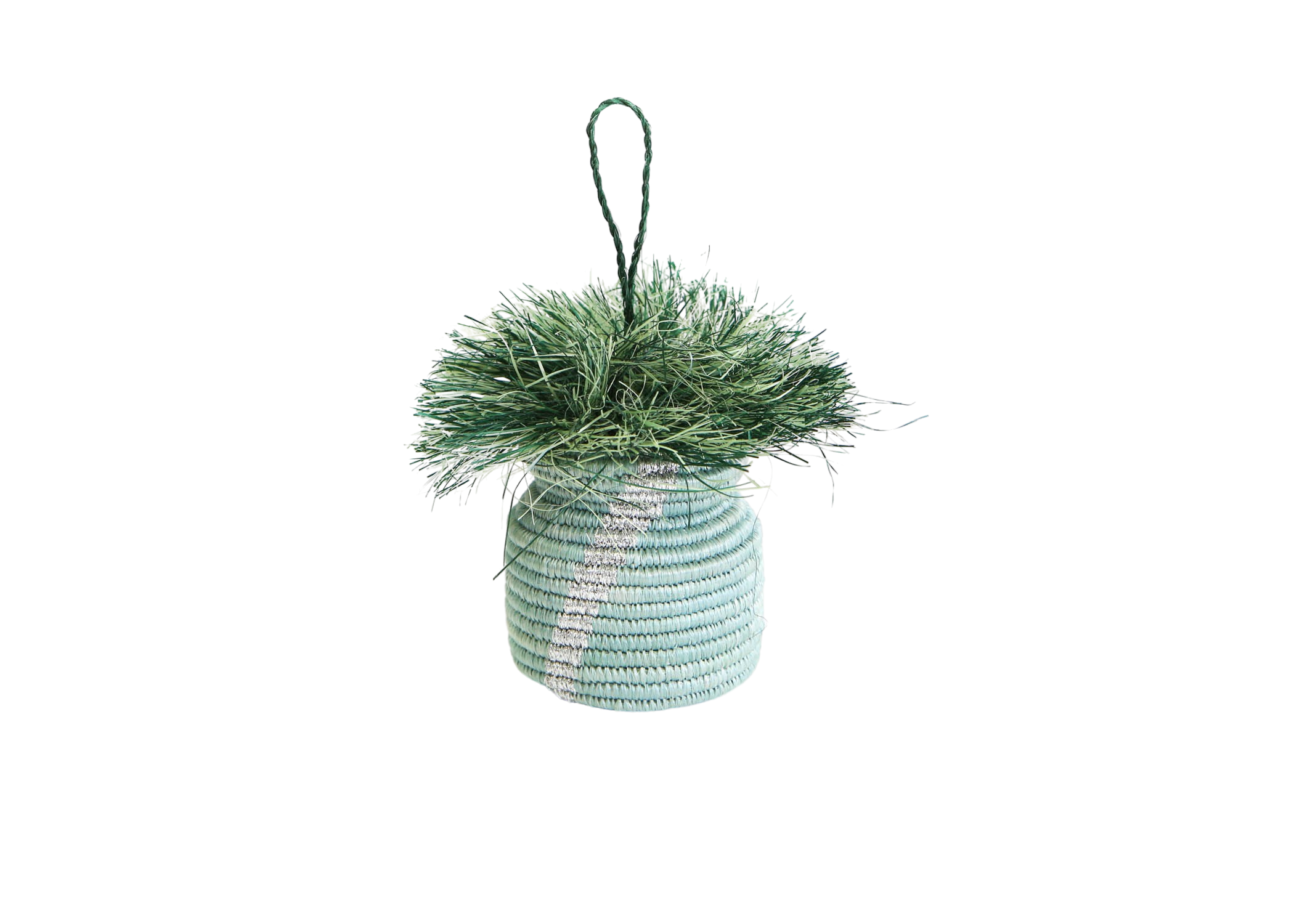 Soft Blue Striped Planter Ornament - KAZI - Artisan made high quality home decor and wall art