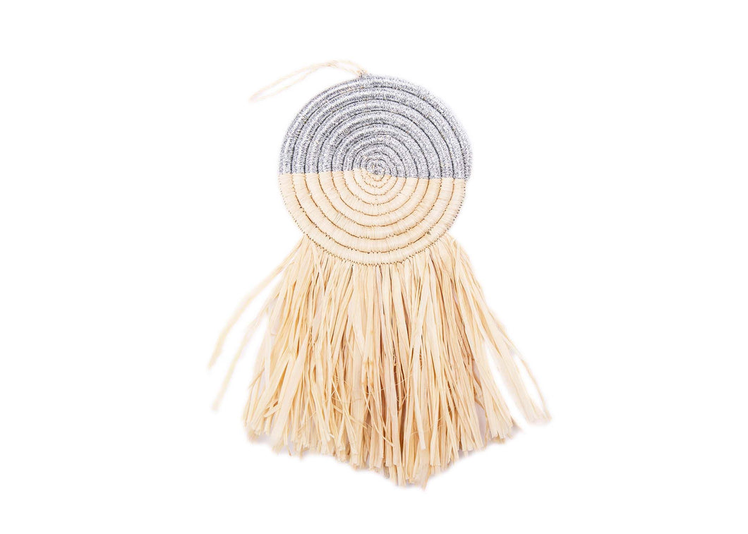 Half Silver Metallic Fringed Disc Ornament - KAZI