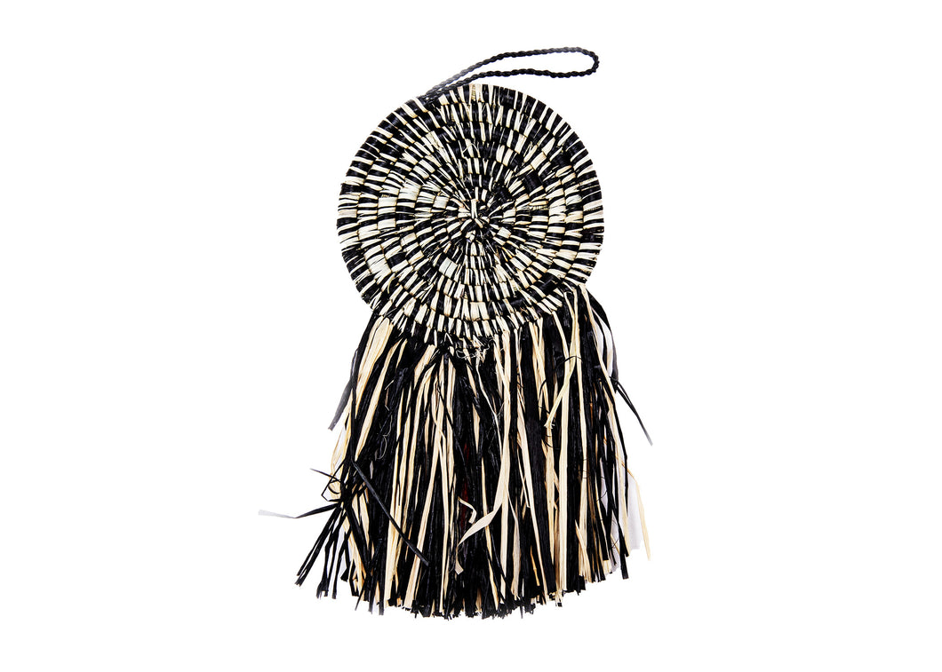 Black Fringed Disc Ornament - KAZI - Artisan made high quality home decor and wall art