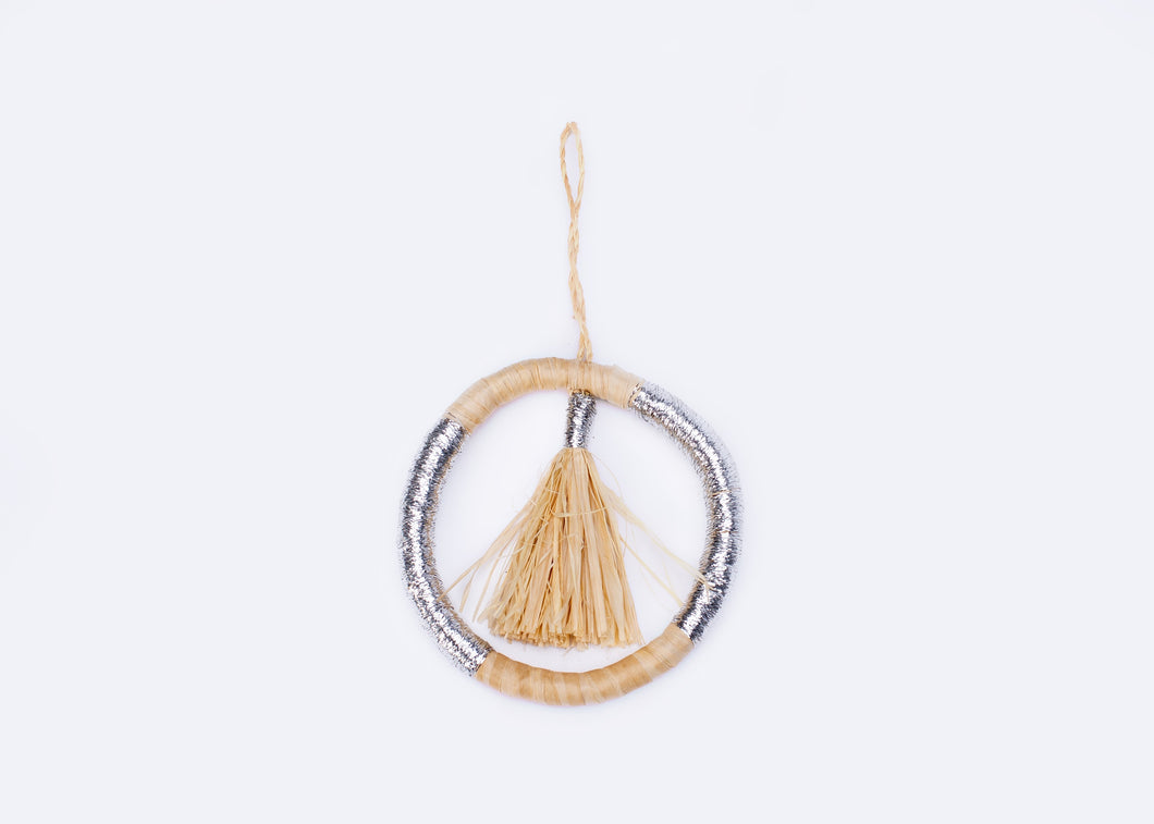 Silver Metallic Tassel Hoop Ornament