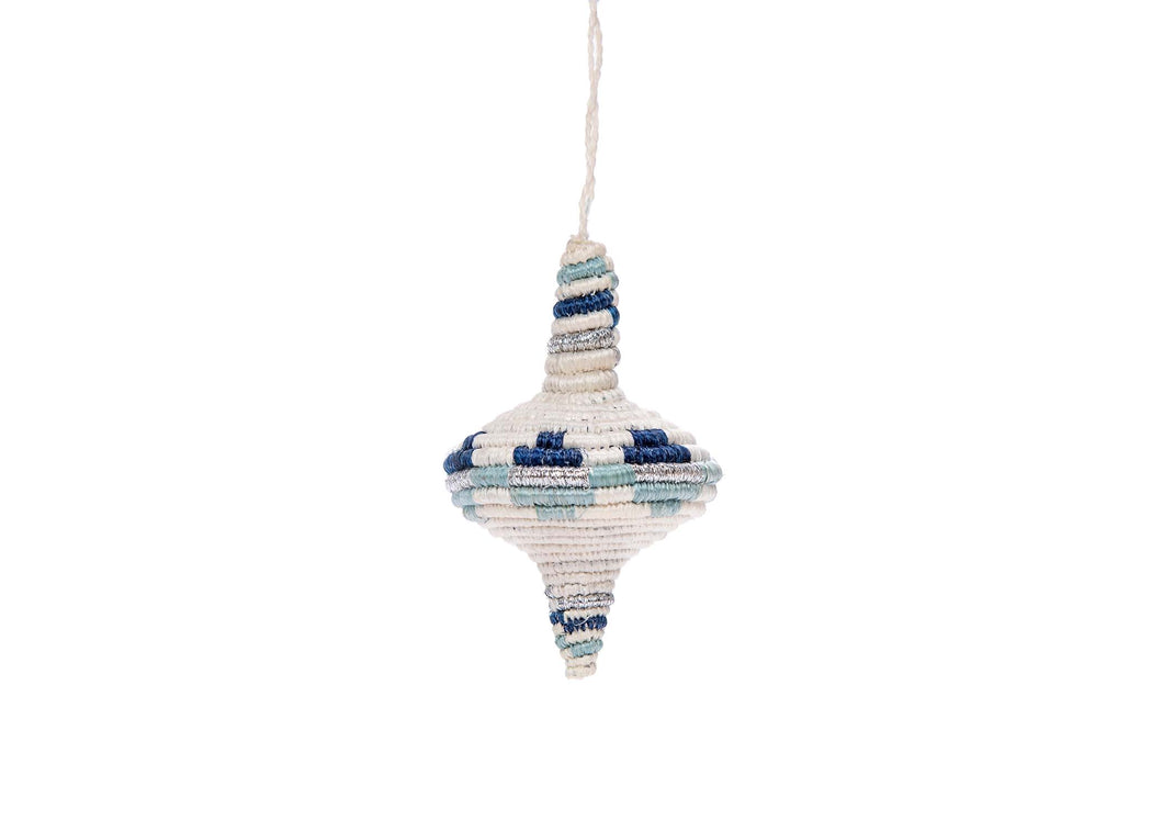 Diamond Shape Blue Metallic Ornament - KAZI - Artisan made high quality home decor and wall art