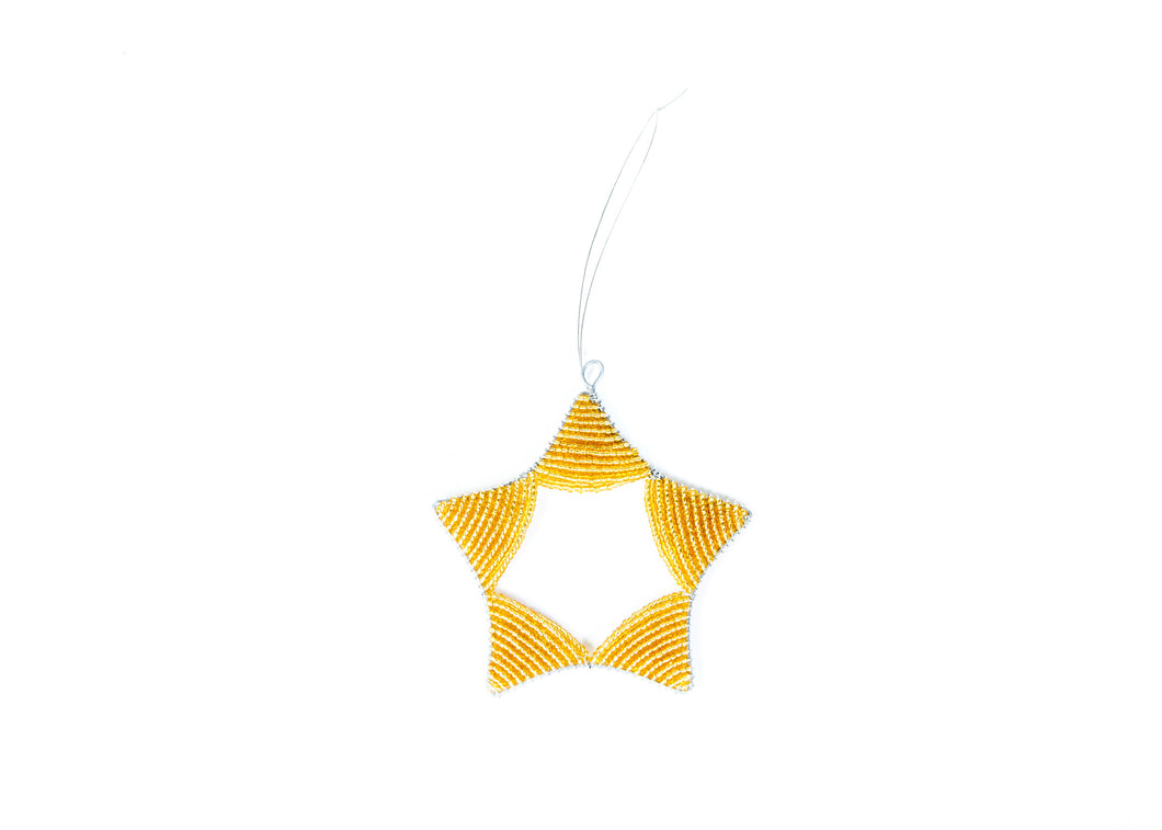 Gold Beaded Star Ornament - KAZI - Artisan made high quality home decor and wall art