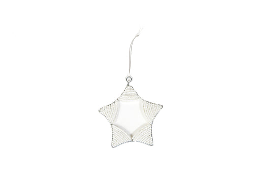 White Beaded Curved Star