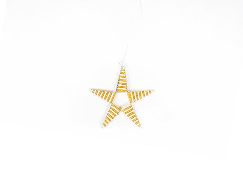 Gold + White Beaded Star
