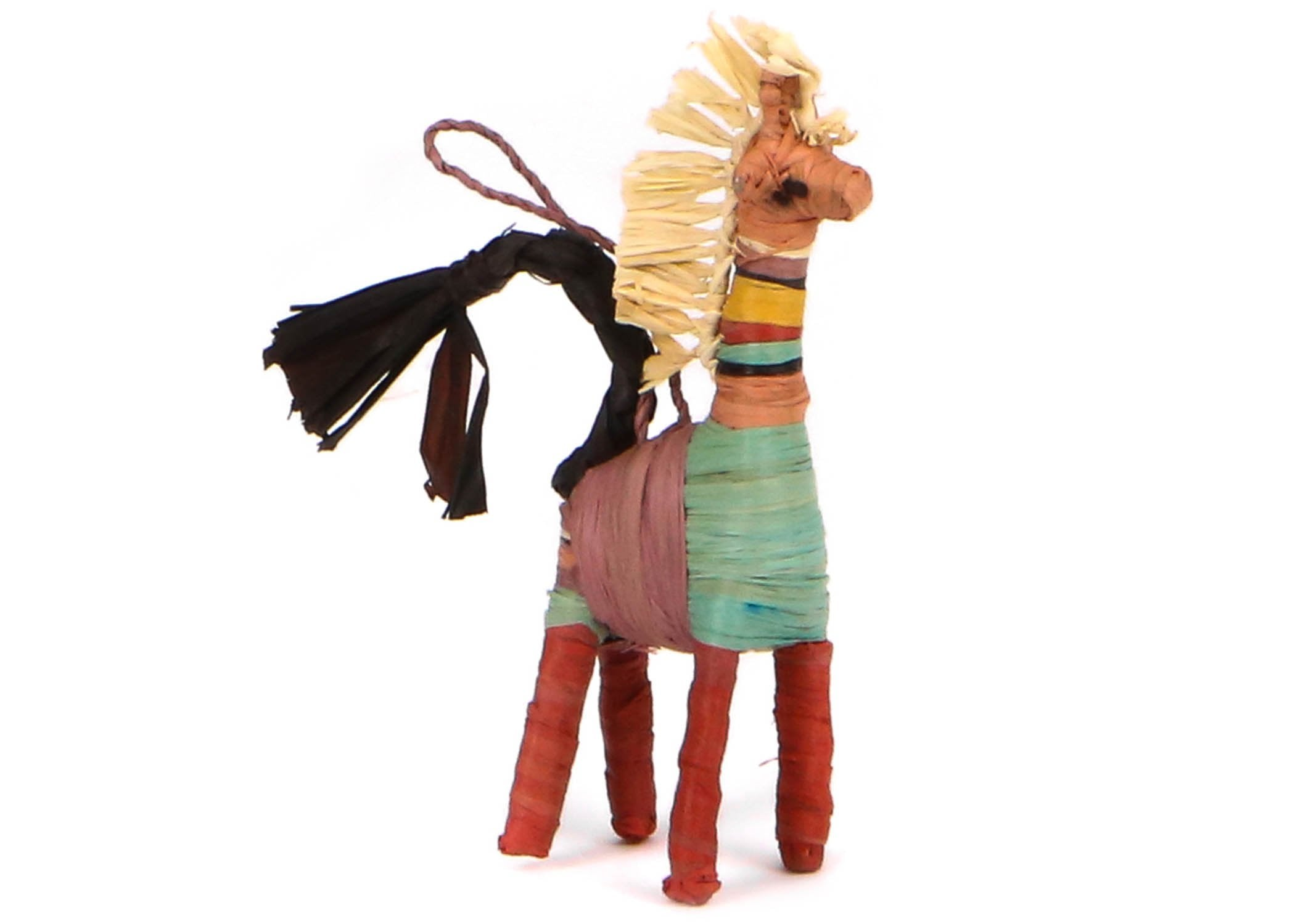 Colorful Raffia Giraffe Ornament - KAZI