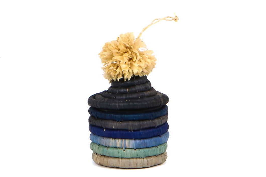 Blue Pom Pom Basket Ornament - KAZI