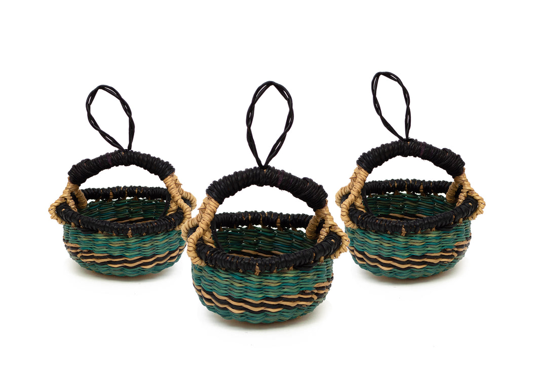 Petite Blue Bolga Basket Ornaments, Set of 3 - KAZI - Artisan made high quality home decor and wall art