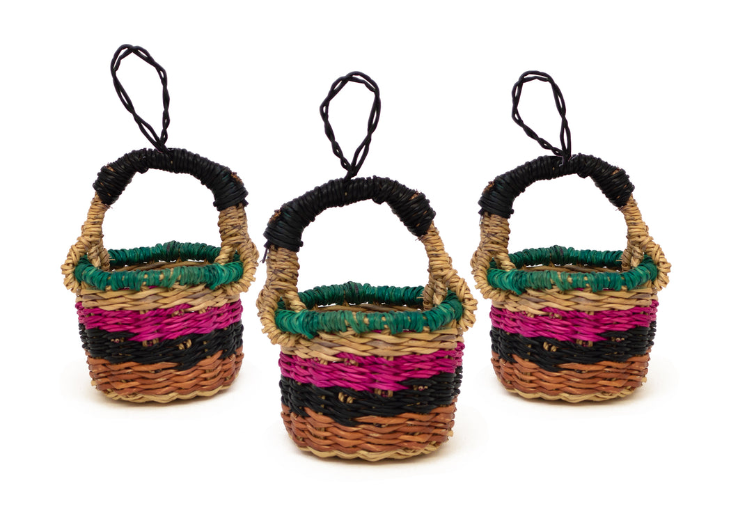 Petite Colorful Bolga Basket Ornaments, Set of 3 - KAZI - Artisan made high quality home decor and wall art