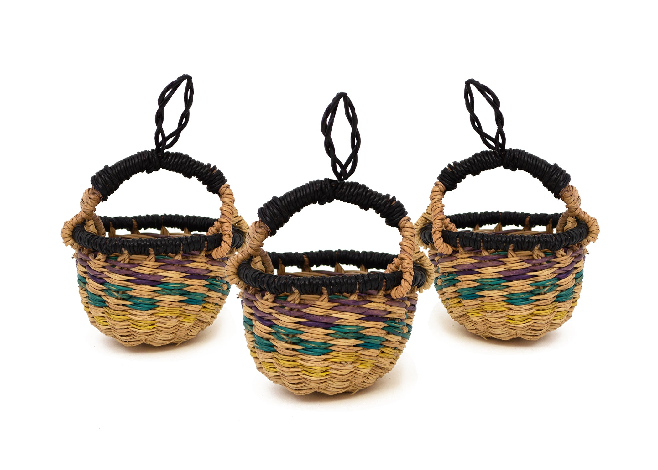 Petite Bolga Basket Ornaments, Set of 3 - KAZI - Artisan made high quality home decor and wall art