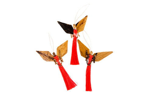 Medium Blazing Orange Angel Ornament 3-piece Set
