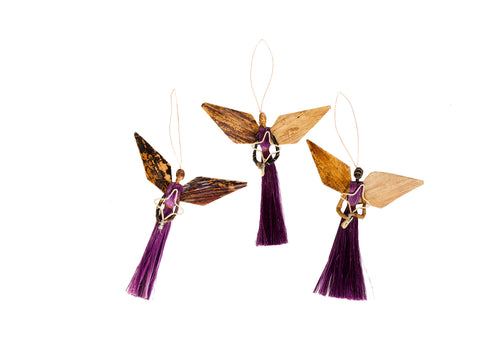 Medium Plum Angel Ornament 3-piece Set