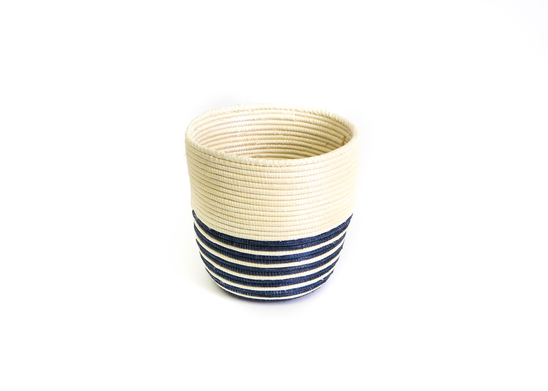 "6"" Natural and Navy Striped Planter - KAZI"