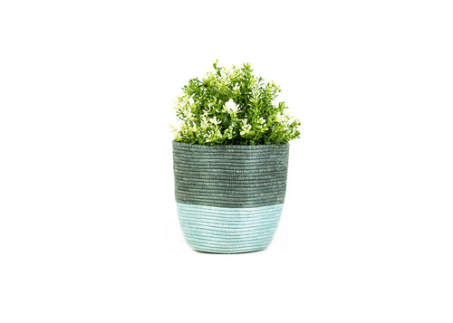 Large Silver Blue and Gray Planter