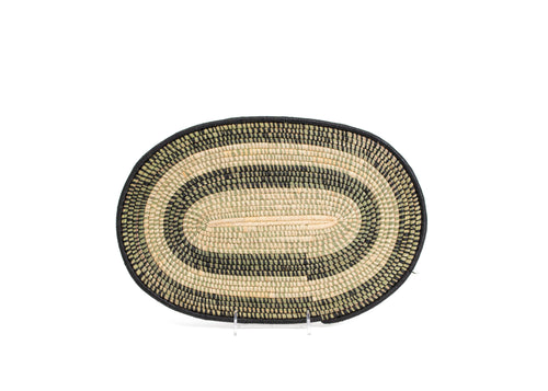 Black Oval Raffia Placemat - Set of 2