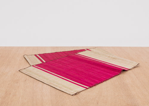 Fandango Pink Raffia Placemat, Set of 2