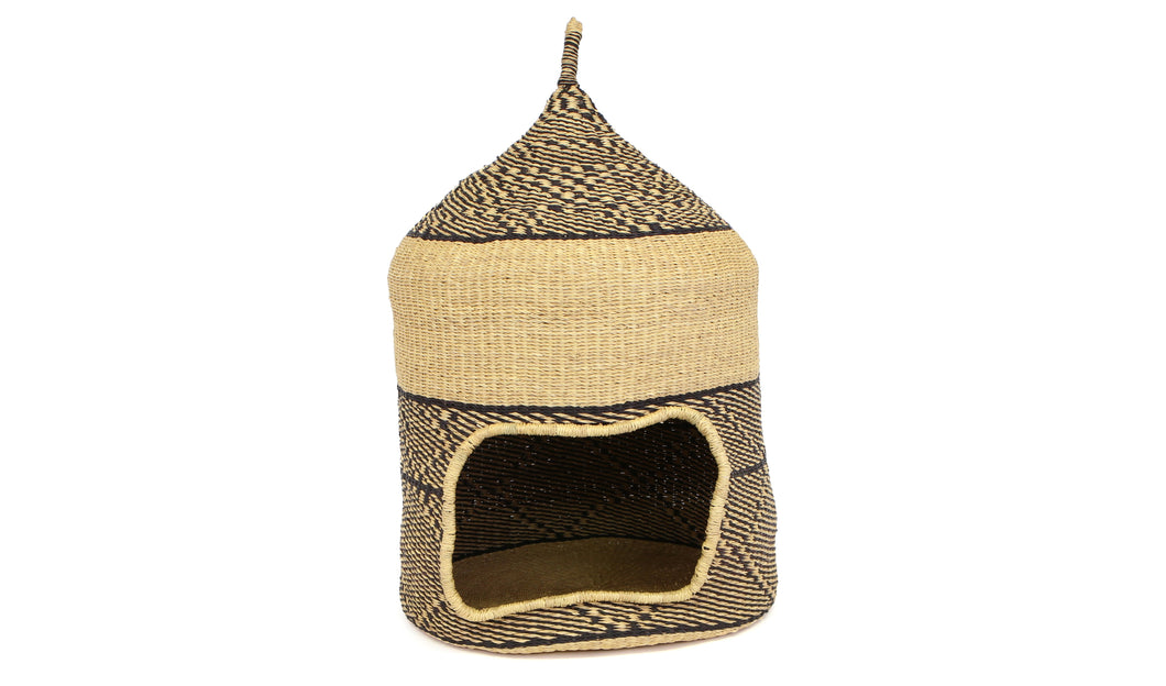 Black + Natural Tall Pet Hut (M) - KAZI - Artisan made high quality home decor and wall art