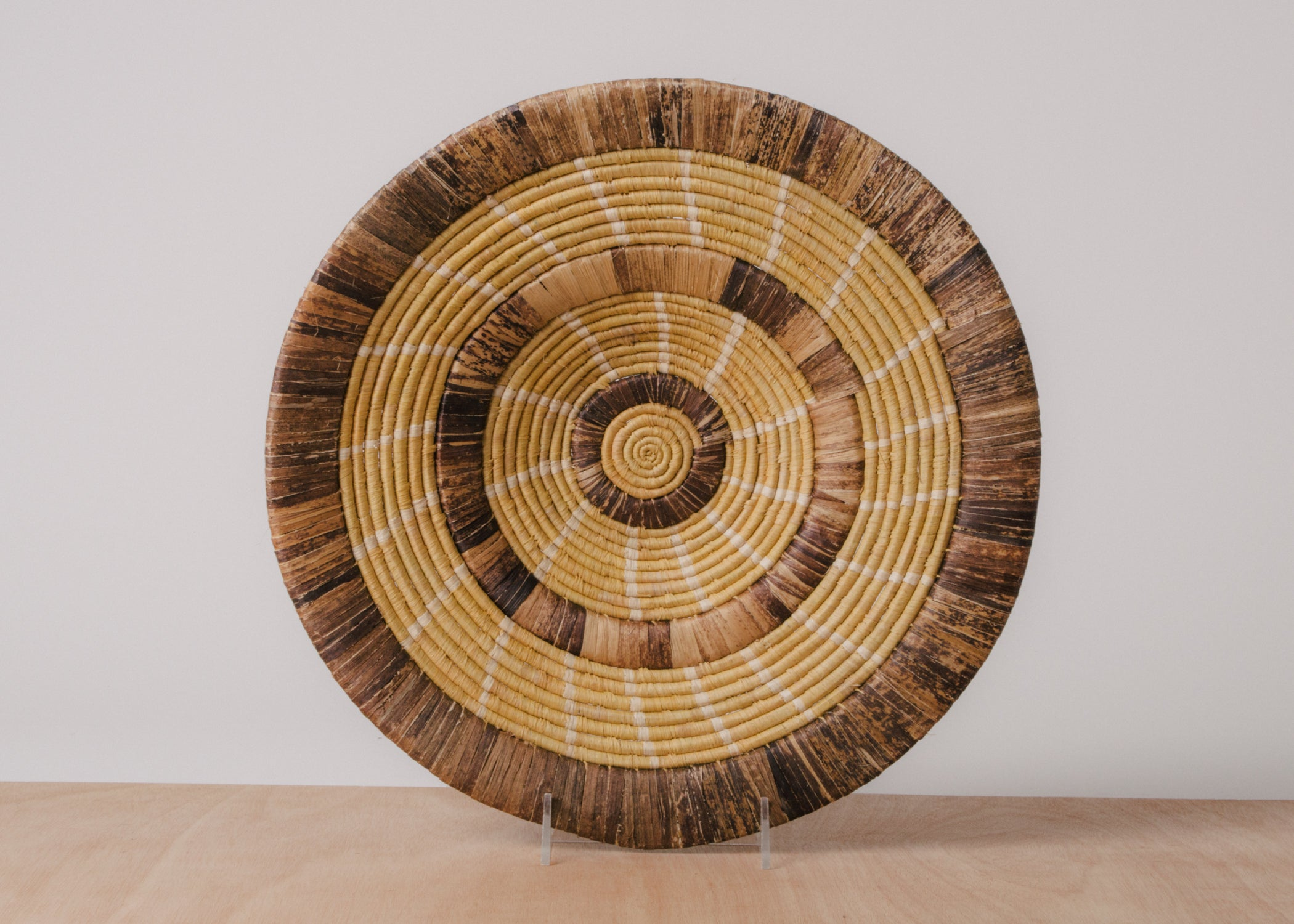 Ugandan Raffia Plate V - KAZI - Artisan made high quality home decor and wall art