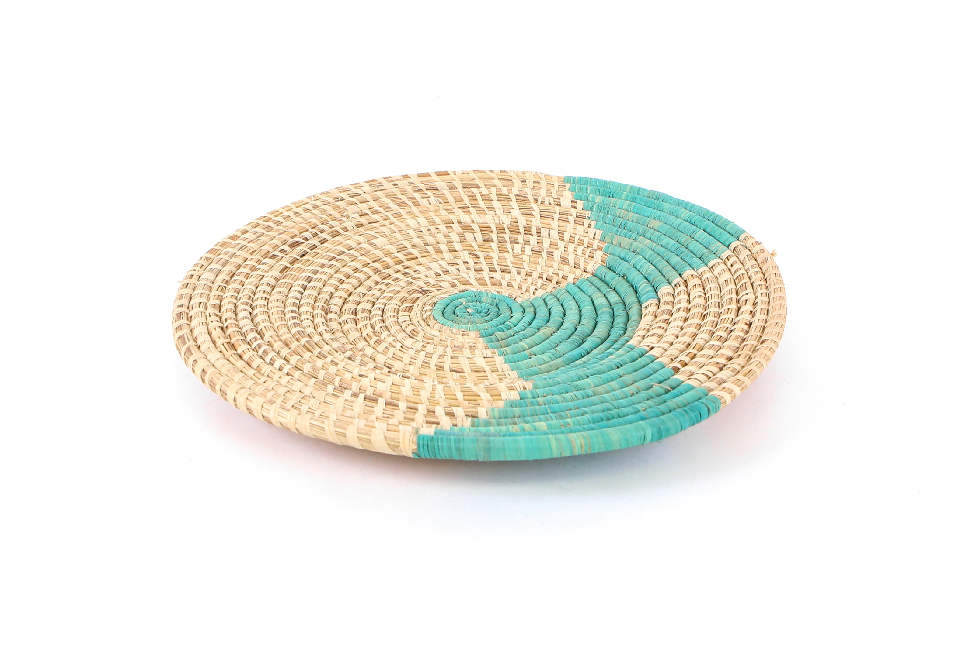"Natural and Turquoise 14"" Plate - KAZI - Artisan made high quality home decor and wall art"