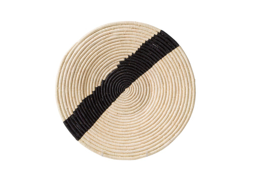 Striped Black + Natural Raffia Plate I