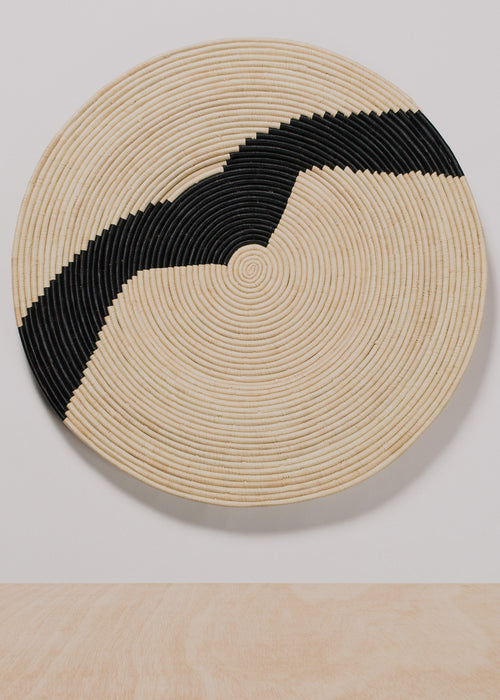 Striped Black + Natural Raffia Plate III