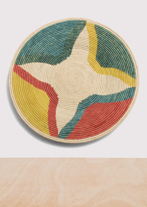 Color Blocked Jumbo Raffia Plate