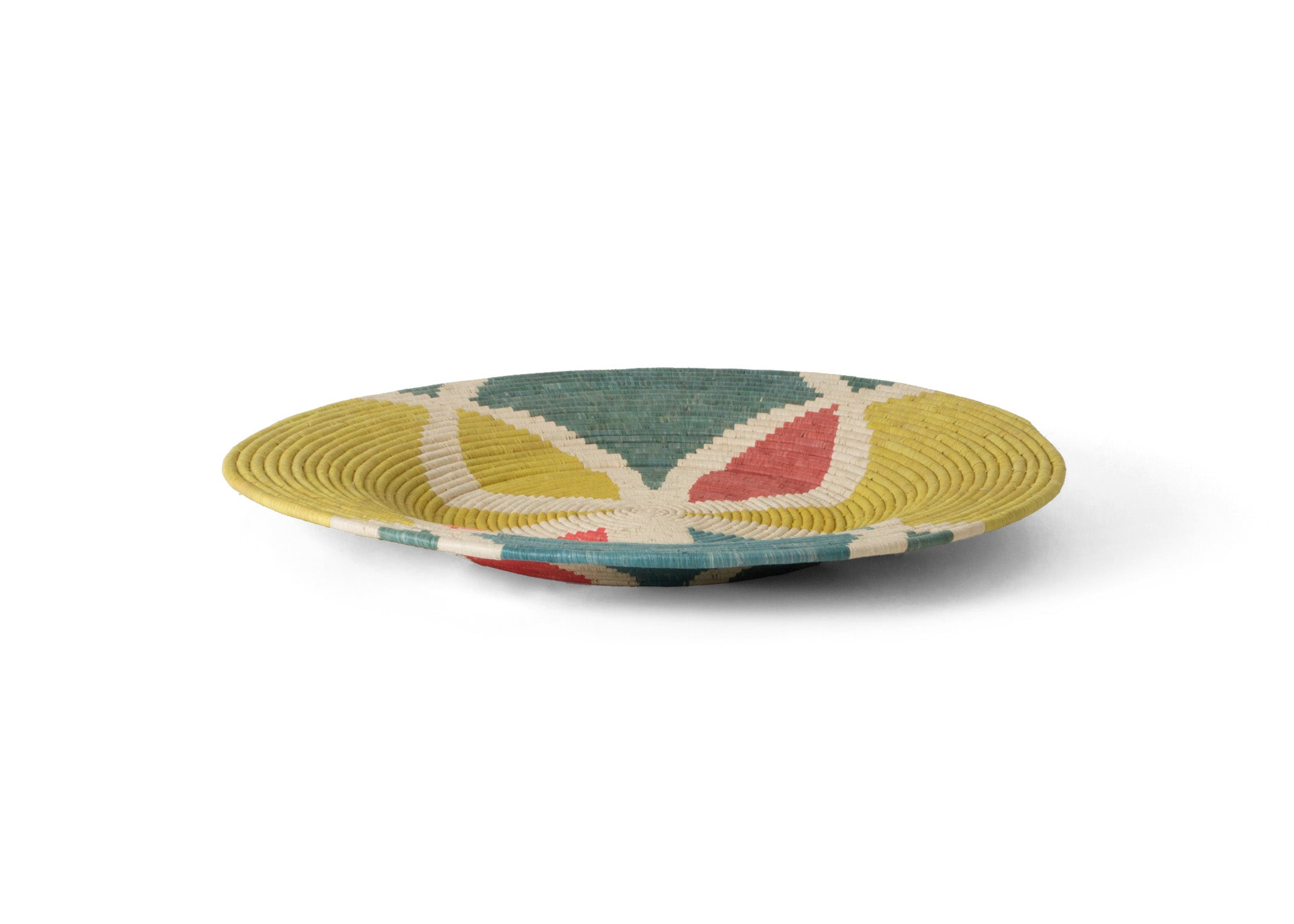 Color Blocked Extra Large Raffia Plate - KAZI - Artisan made high quality home decor and wall art