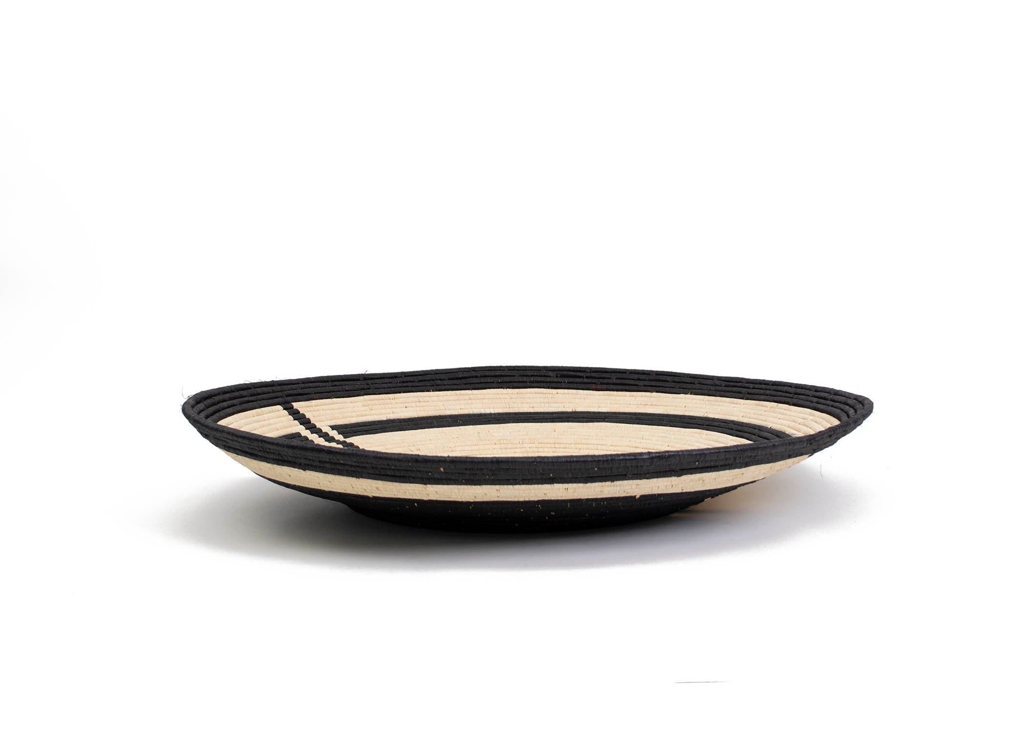 Geo Black Jumbo Raffia Plate - KAZI - Artisan made high quality home decor and wall art
