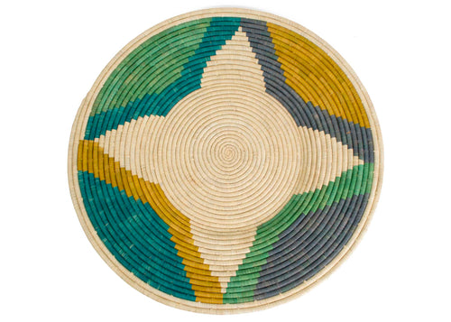 Emerald Bay Color Blocked Jumbo Raffia Plate