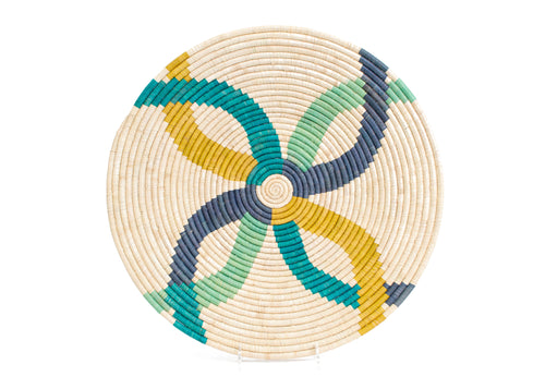 Emerald Bay Color Blocked Large Raffia Plate