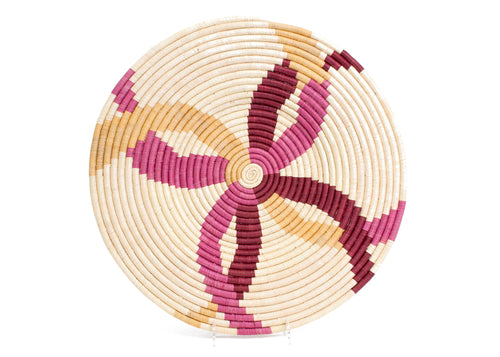 Rosette Color Blocked Large Raffia Plate