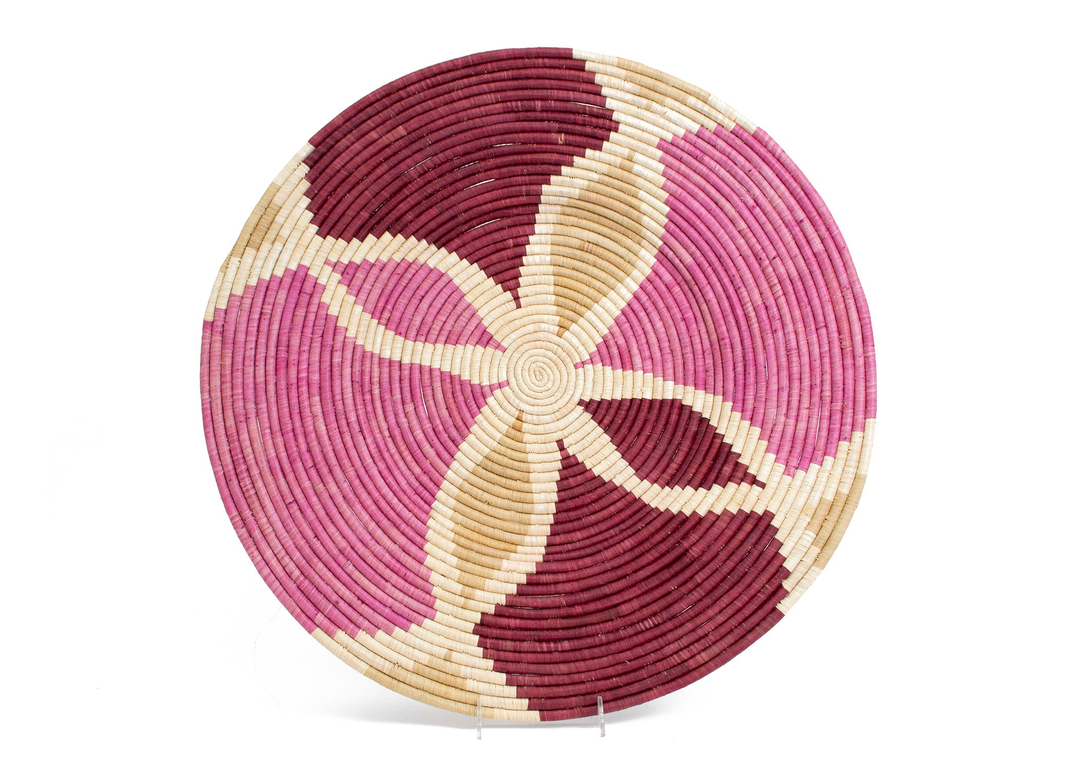 Rosette Color Blocked Extra Large Raffia Plate - KAZI - Artisan made high quality home decor and wall art