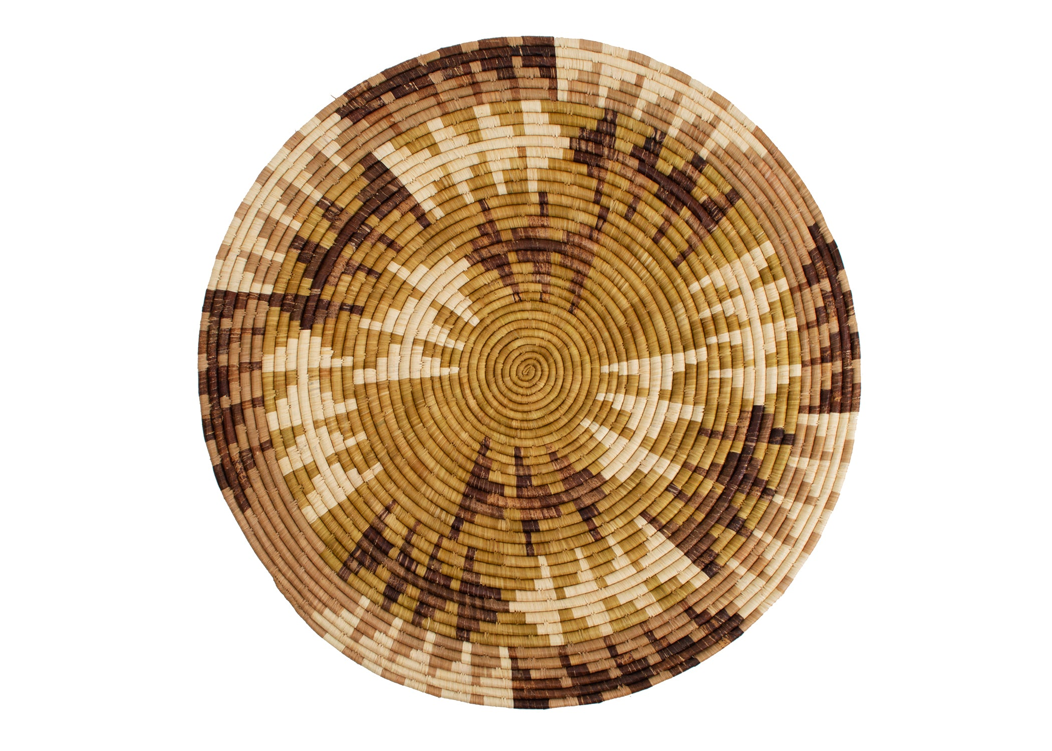 "27"" Extra Large Ochre Arrows Woven Wall Art Plate - KAZI - Artisan made high quality home decor and wall art"