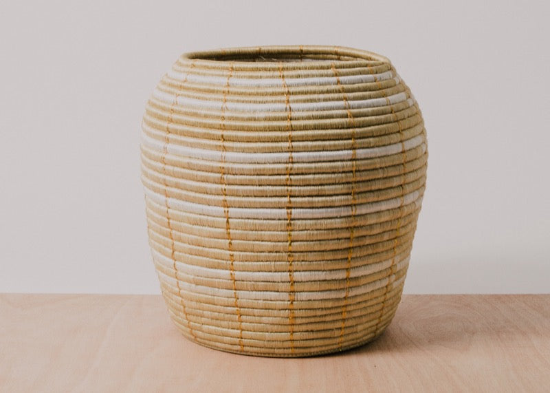 Gold Stitched Floor Basket - KAZI - Artisan made high quality home decor and wall art