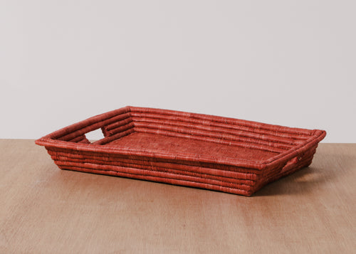 Burnt Orange Rectangular Raffia Tray