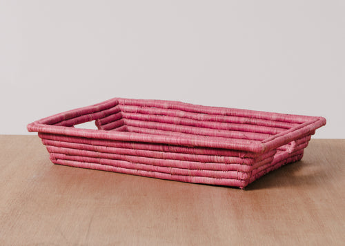 Garnet Rectangular Raffia Tray