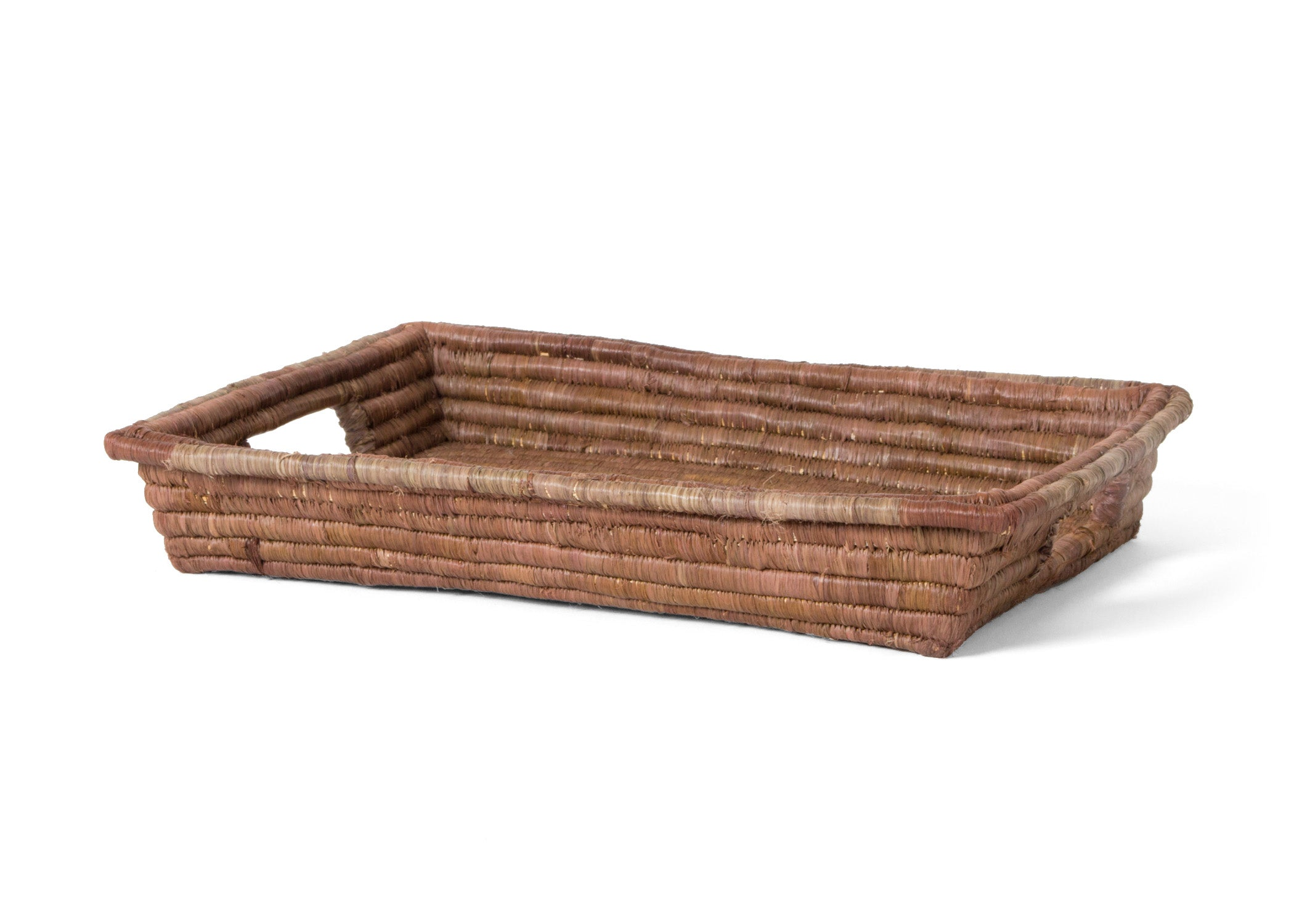 Chocolate Rectangular Raffia Tray - KAZI - Artisan made high quality home decor and wall art