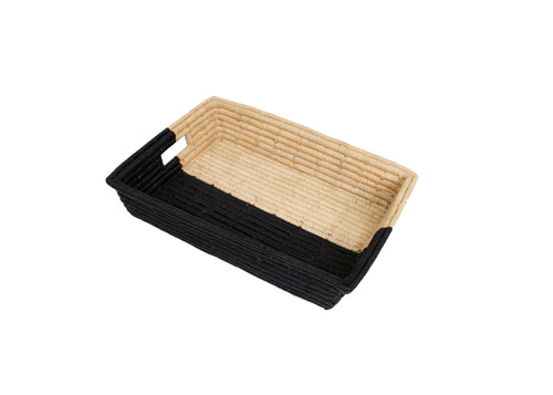 Black Half-Dipped Raffia Tray
