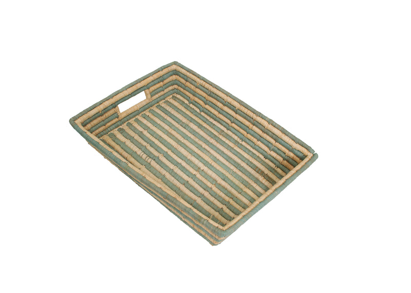 Silver Blue Striped Raffia Tray