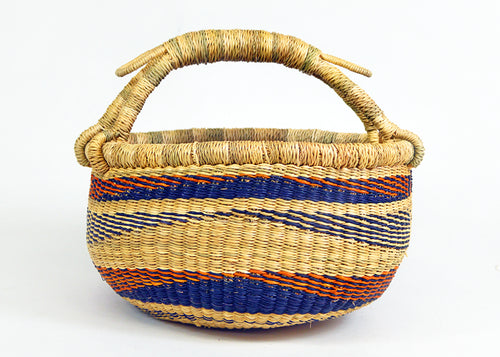 Orange and Blue Striped Small Market Bag